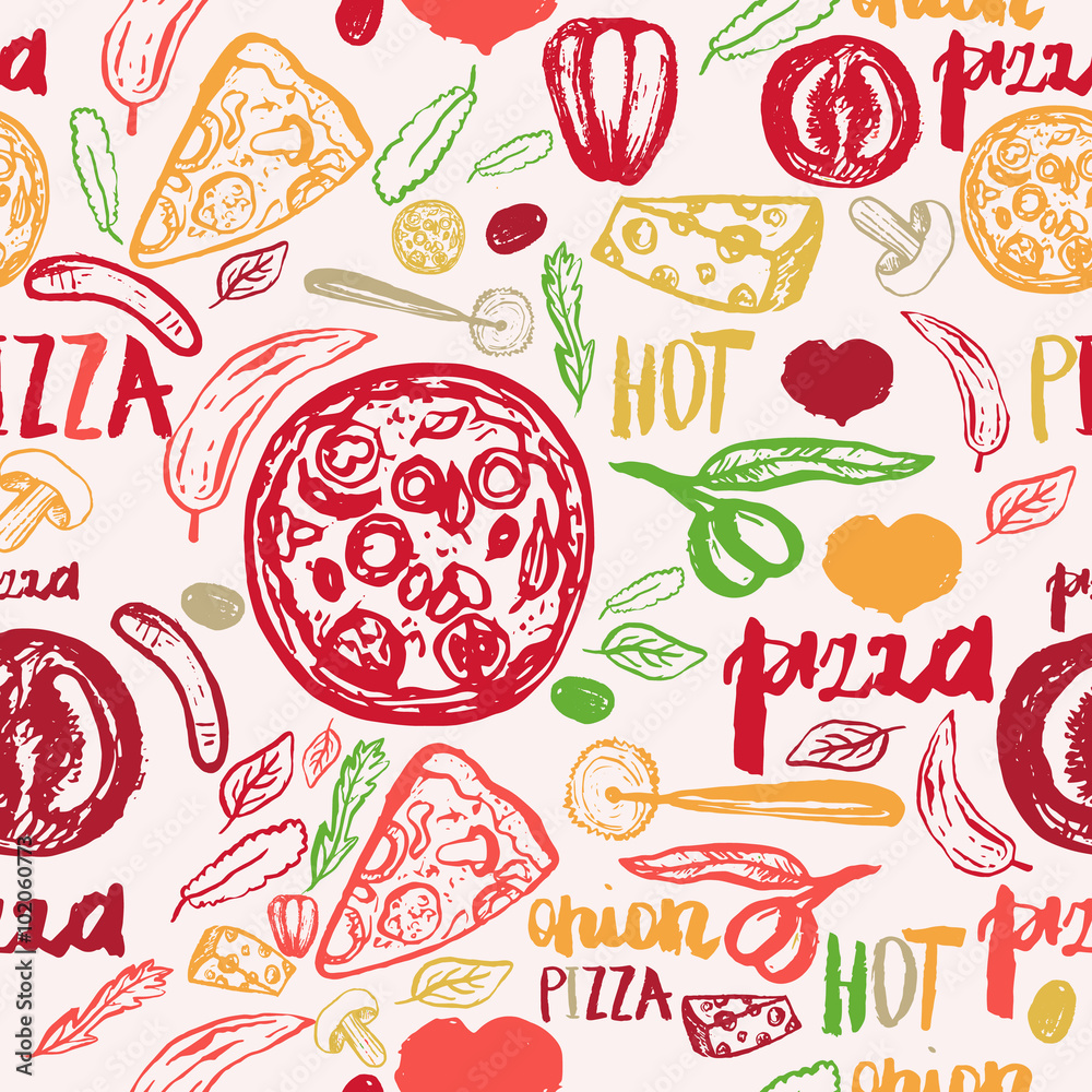 Fototapeta Pizza hand drawn seamless
