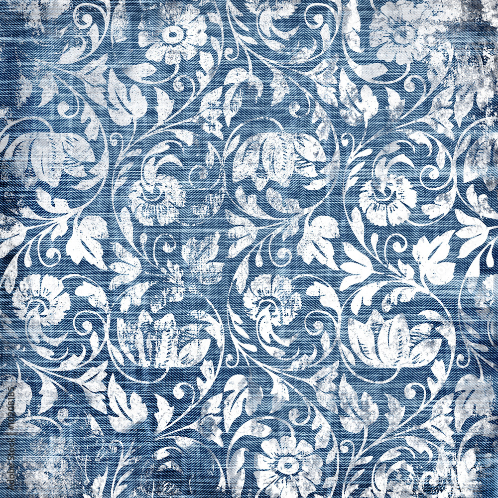 Tapeta decorative blue-white patterns