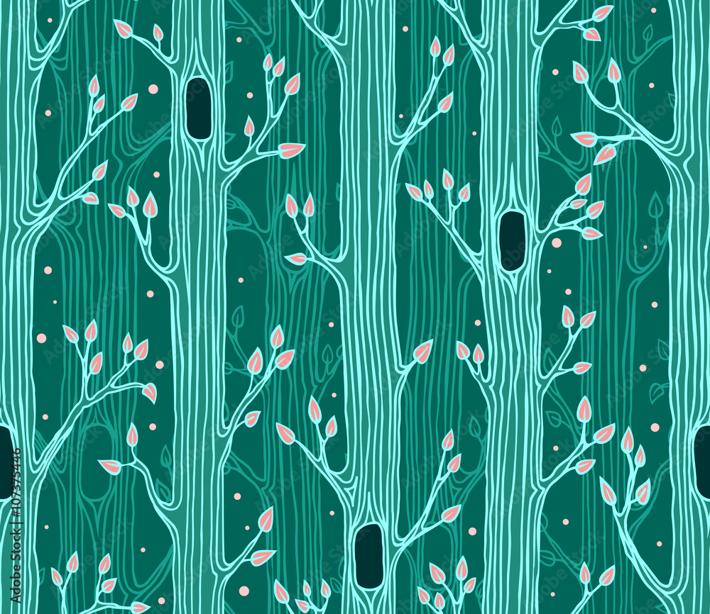 Tapeta Seamless pattern with trees