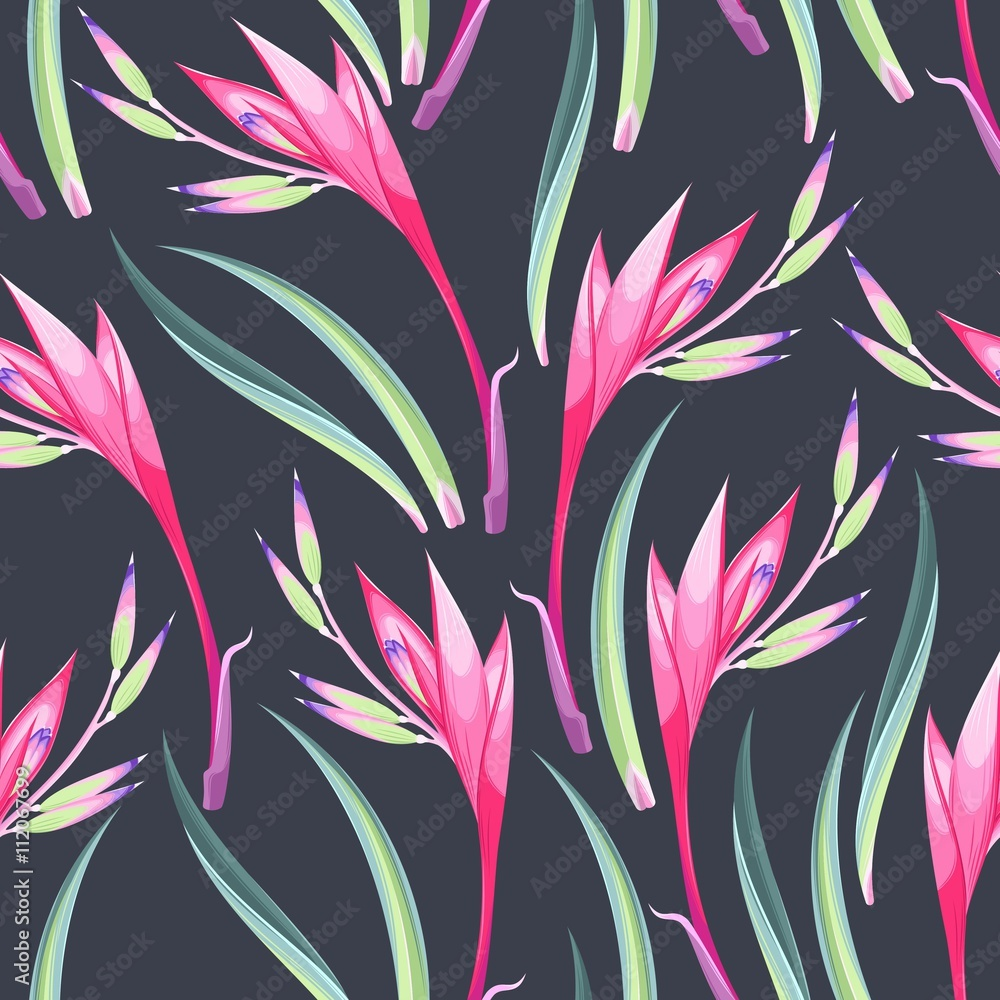 Tapeta Jungle flowers seamless