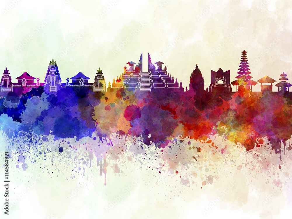 Fototapeta Bali skyline in watercolor