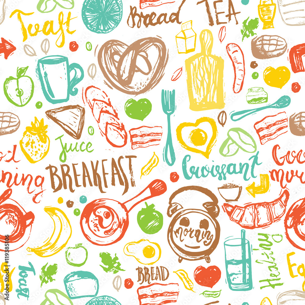 Tapeta Breakfast seamless pattern