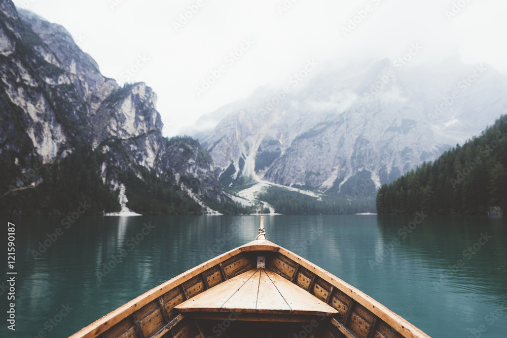 Fototapeta Wood boat in Braies lake