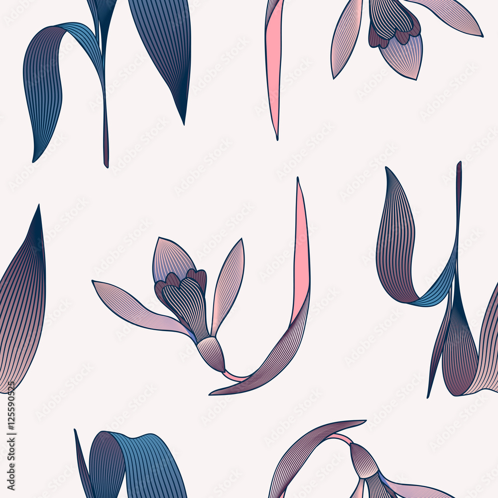 Tapeta Leaves seamless pattern.