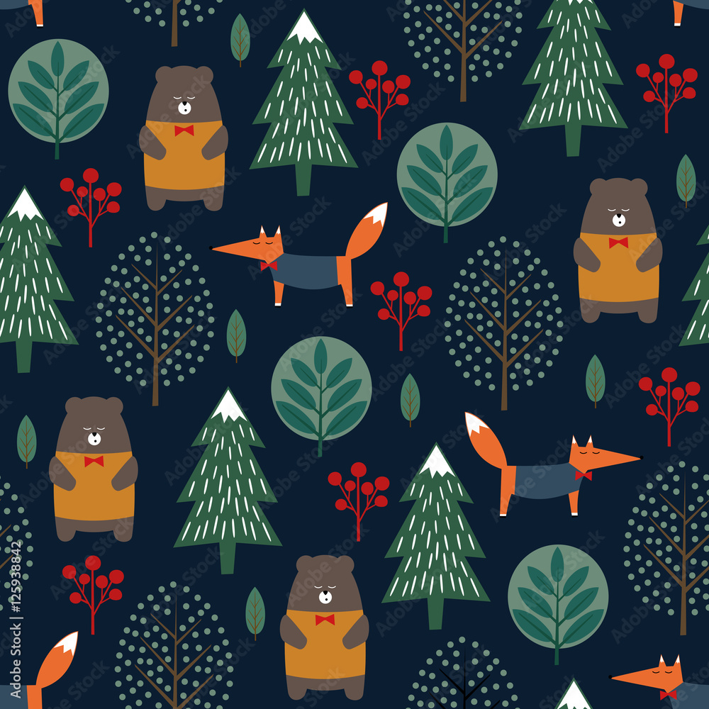 Tapeta Fox, bear, trees and berries