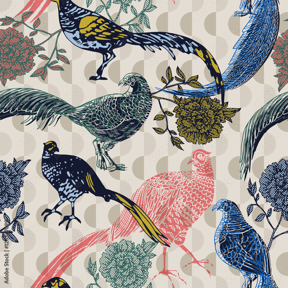 Tapeta Vintage background with birds