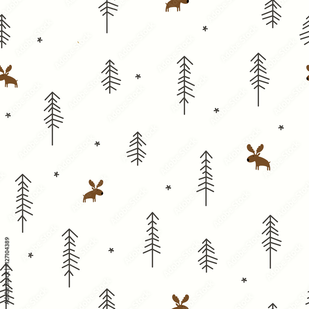 Tapeta Winter Forest with a Moose