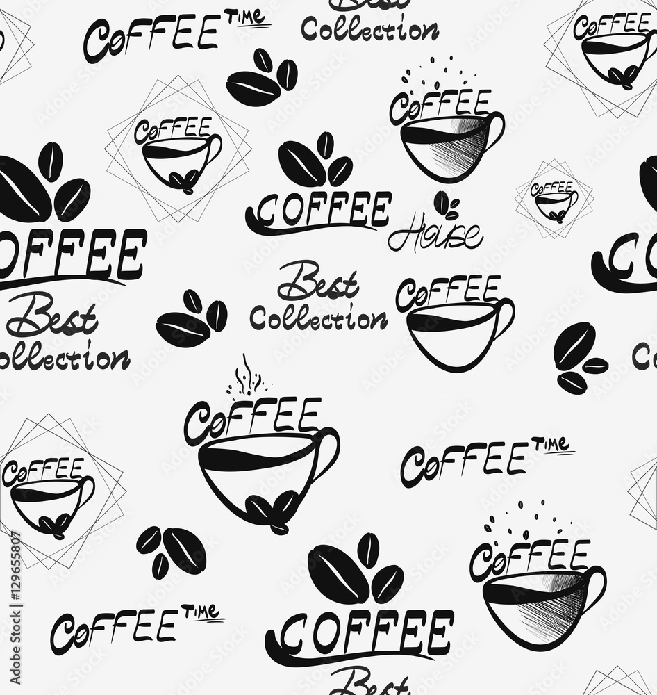 Tapeta Coffee seamless pattern with