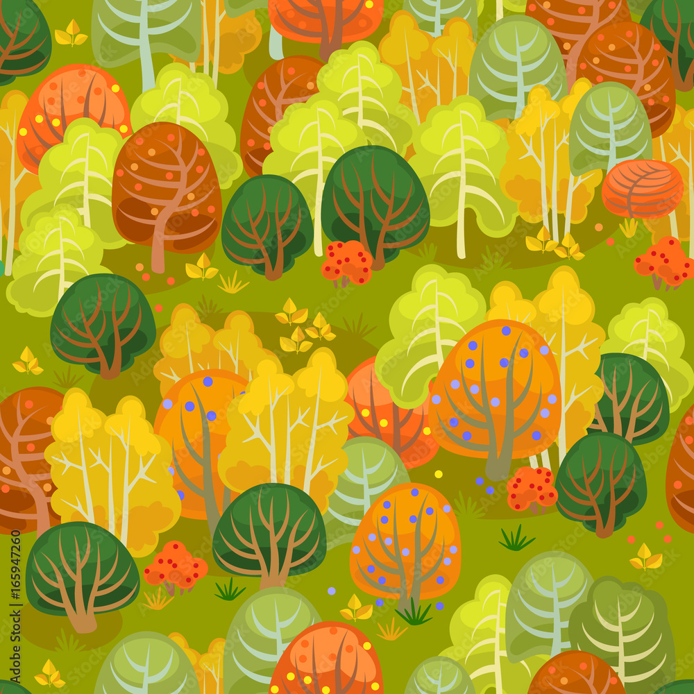Tapeta Forest in autumn in yellow and