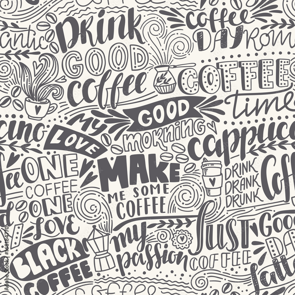 Tapeta Seamless lettering coffee