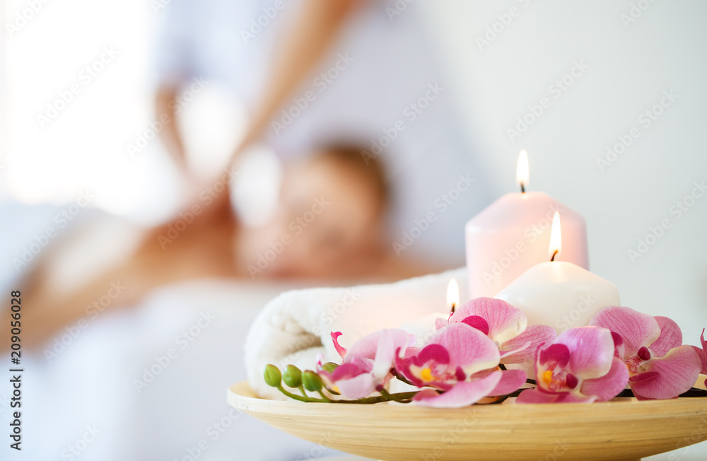Fototapeta composition of spa candles and