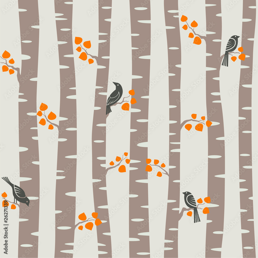 Tapeta autumn trees pattern