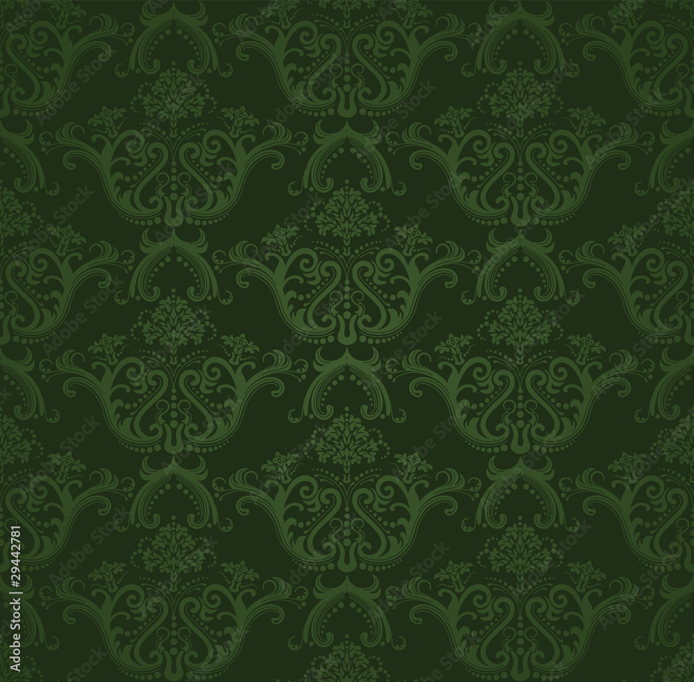 Tapeta Dark green floral wallpaper