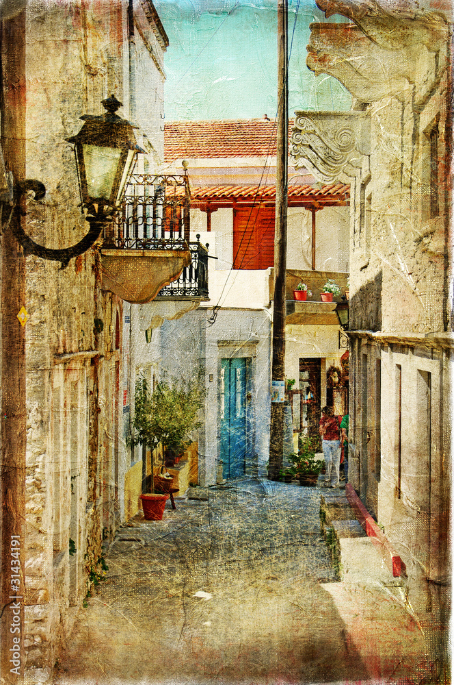 Fototapeta old greek streets- artistic