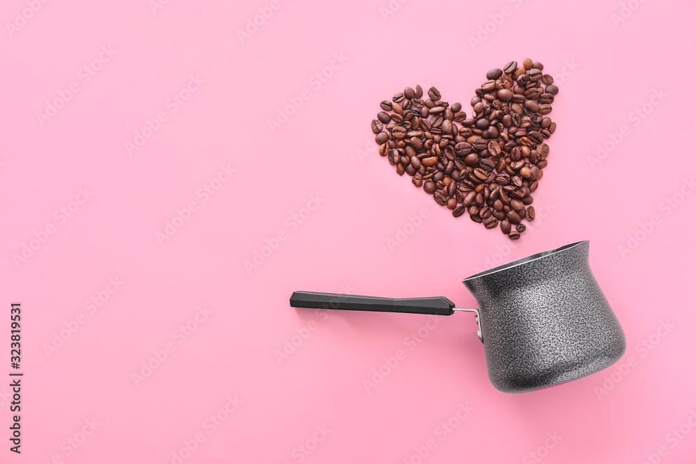 Fototapeta Jezve and heart made of coffee