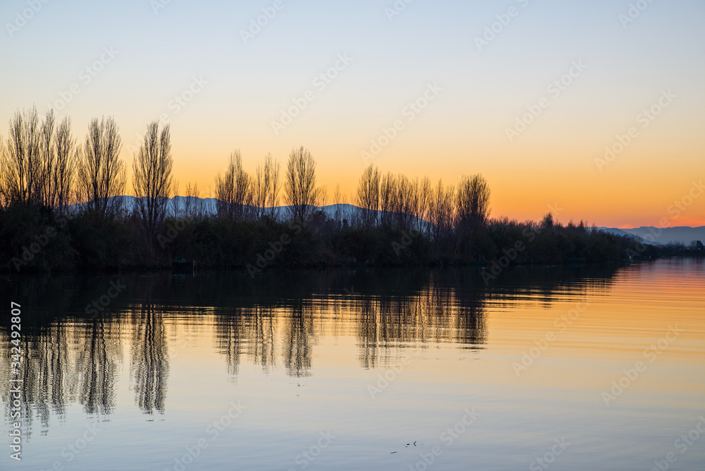 Obraz Dyptyk Clear sky Sunset in Ebro river