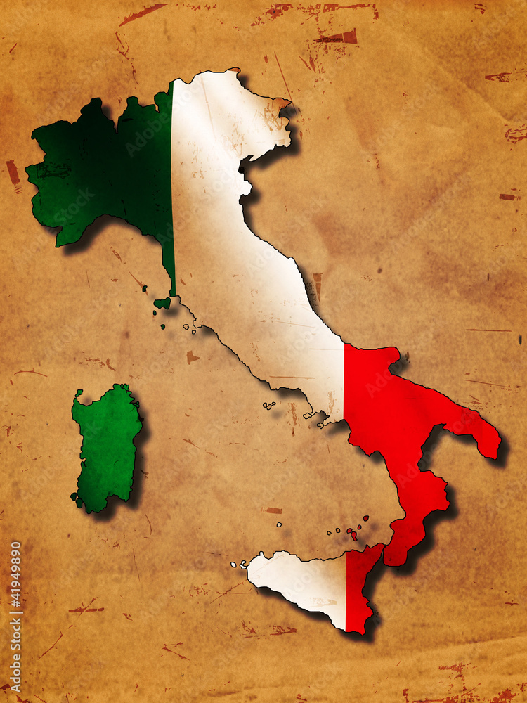 Fototapeta Italian map with flag