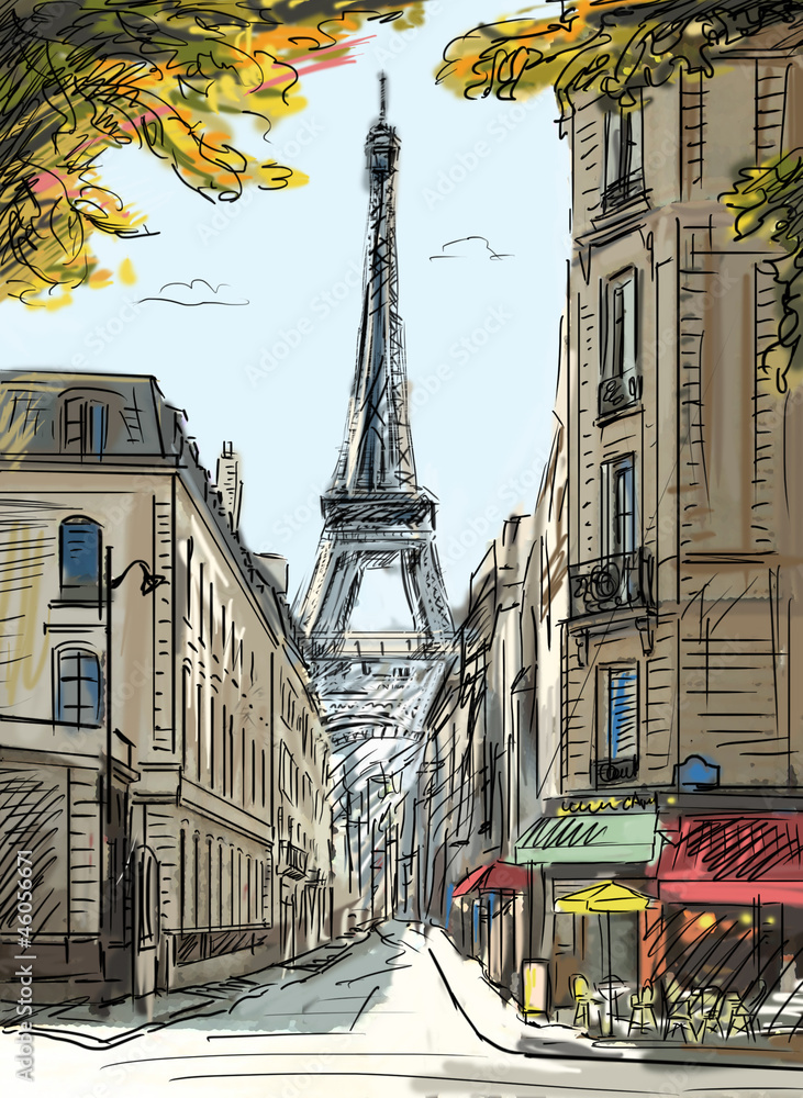 Fototapeta Street in paris - illustration