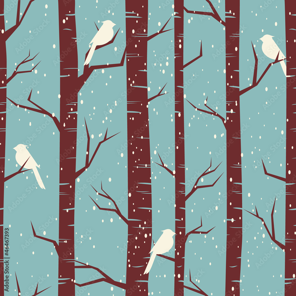 Tapeta Winter Forest Seamless Pattern