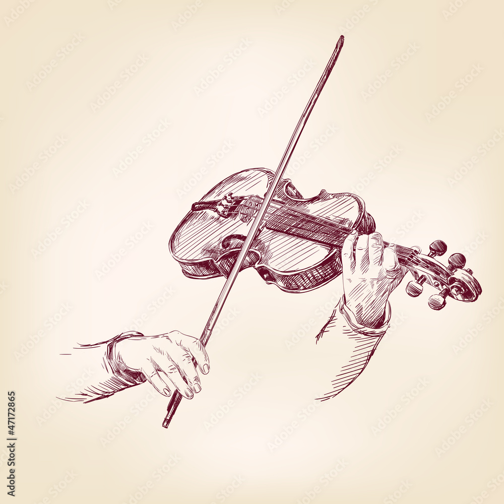 Fototapeta Violin hand drawn vector