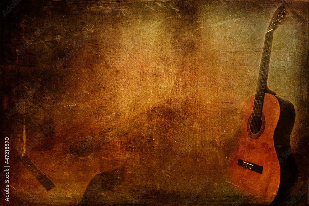 Fototapeta Grunge background guitar