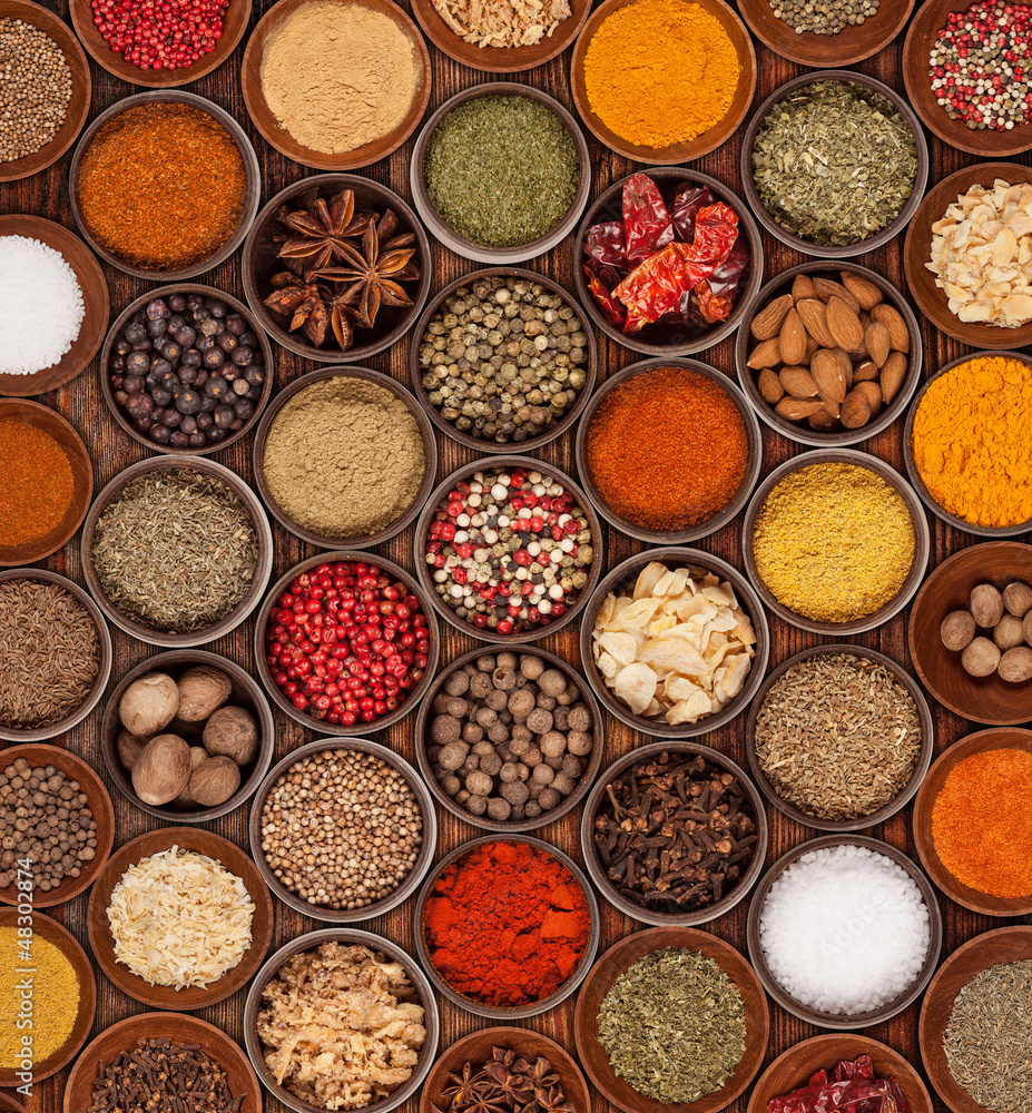 Fototapeta Various kinds of spices on