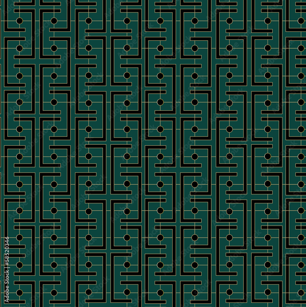 Obraz Kwadryptyk Art Deco Links Pattern