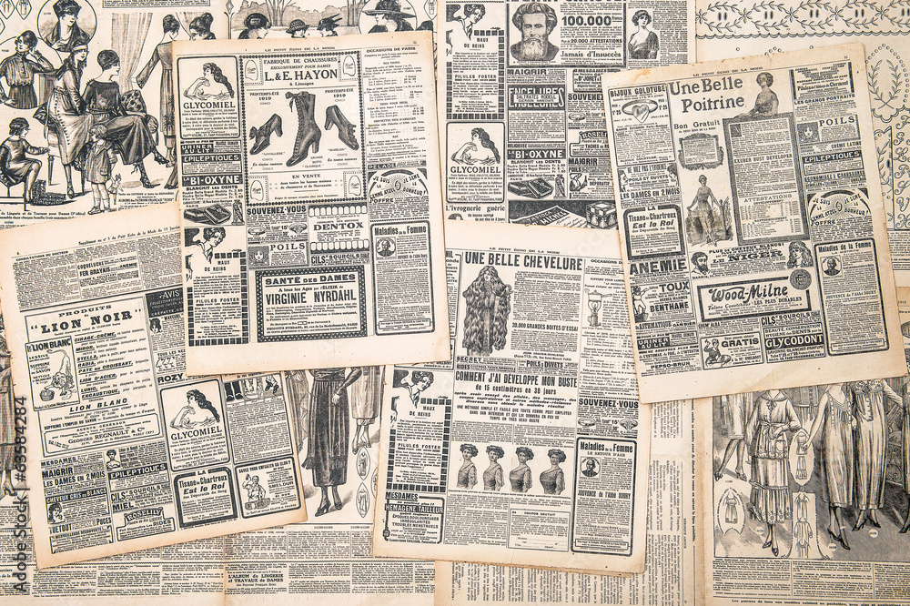 Fototapeta newspaper pages with antique