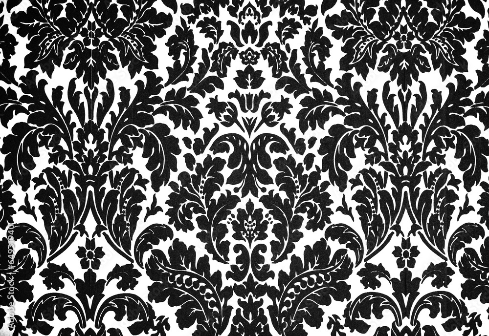 Tapeta black and white baroque