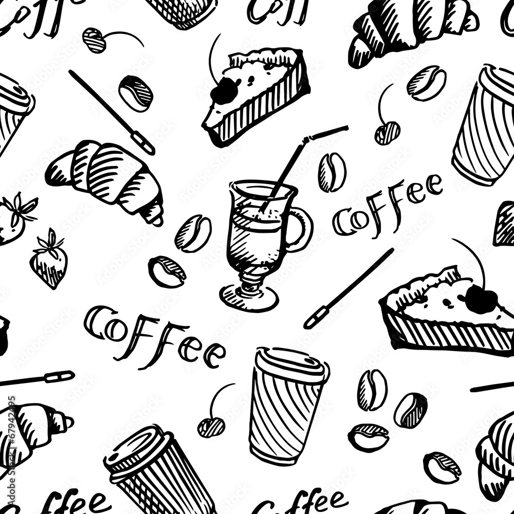 Tapeta seamless pattern of coffee