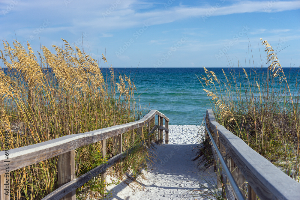 Fototapeta Beach Boardwalk with Dunes and