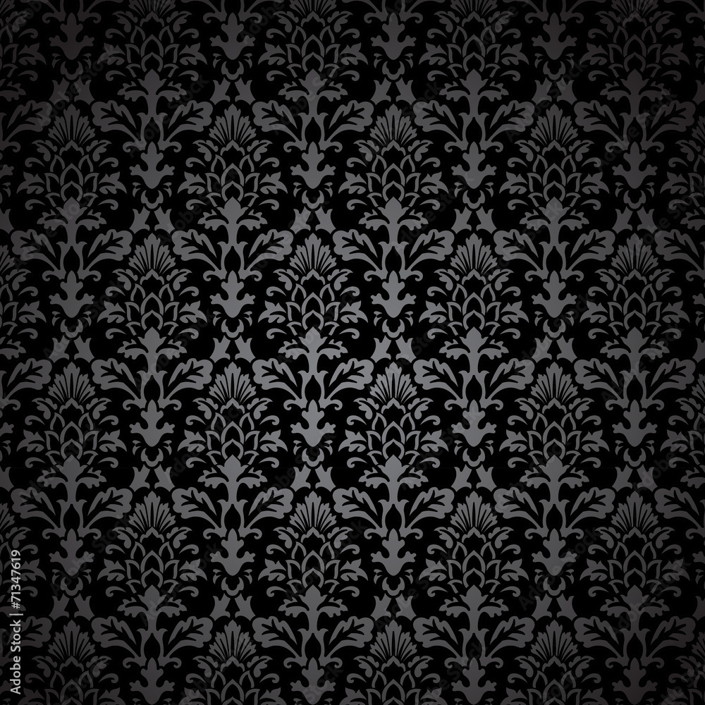 Fototapeta Black Damask Pattern