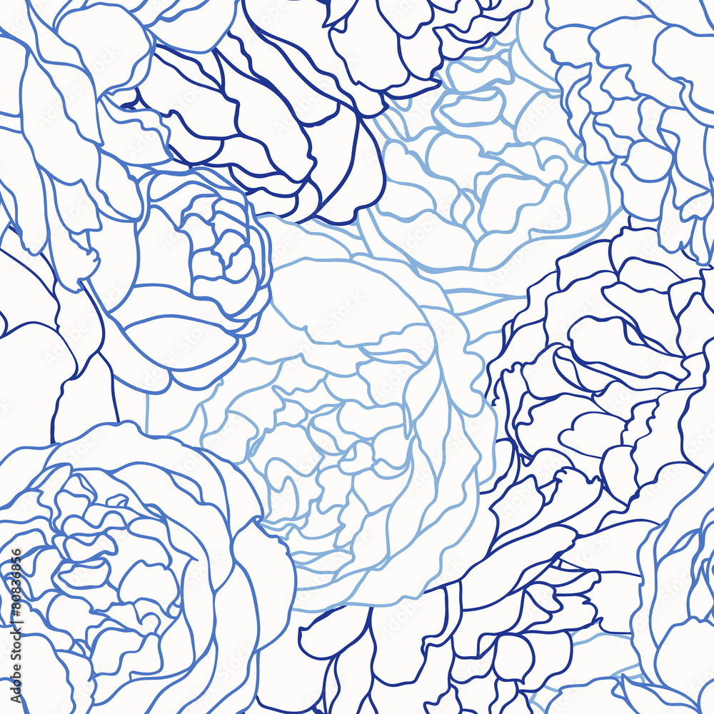 Tapeta Seamless pattern with roses.