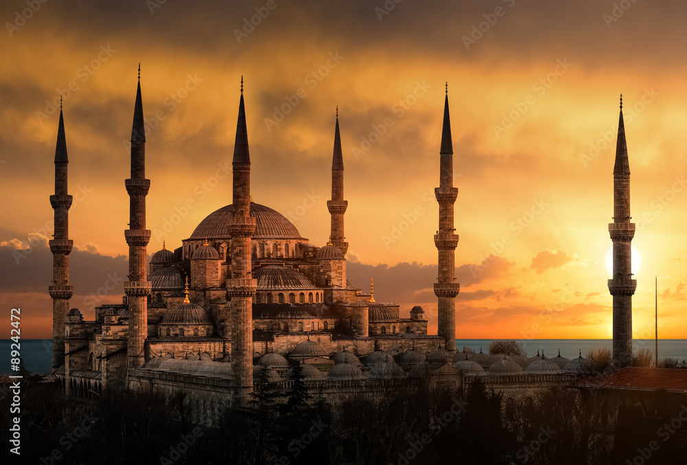 Obraz Tryptyk The Blue Mosque in Istanbul