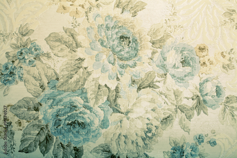 Fototapeta Vintage wallpaper with blue