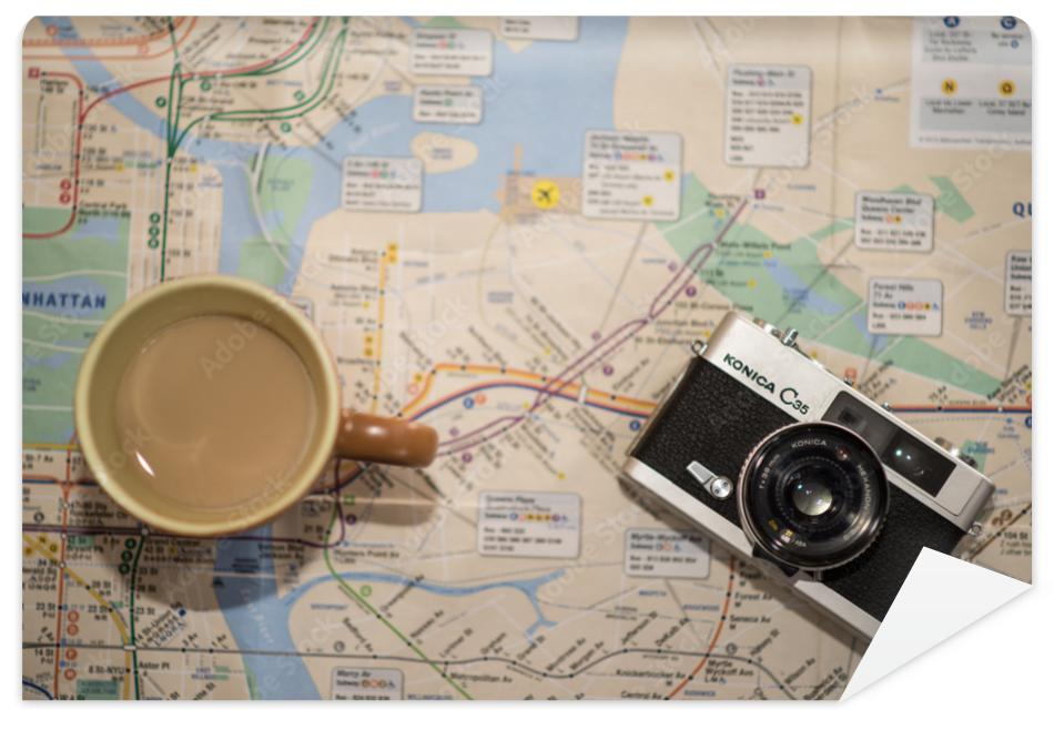 Fototapeta Vinatge camera and coffe from