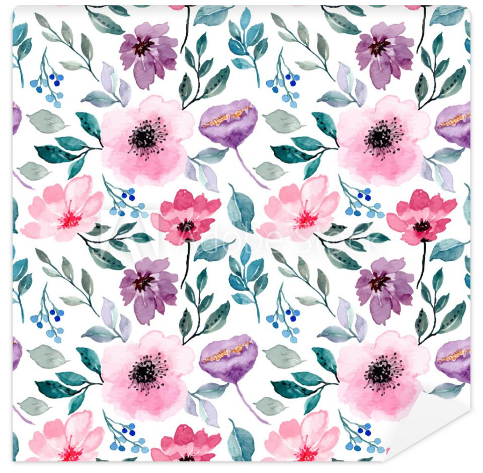 Fototapeta pink purple floral watercolor