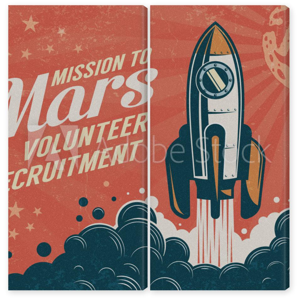 Obraz Dyptyk Mission to Mars - poster in