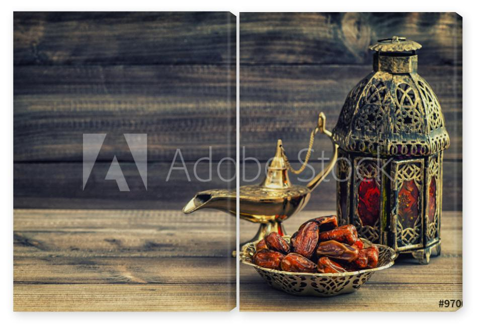 Obraz Dyptyk Ramadan lamp and dates on