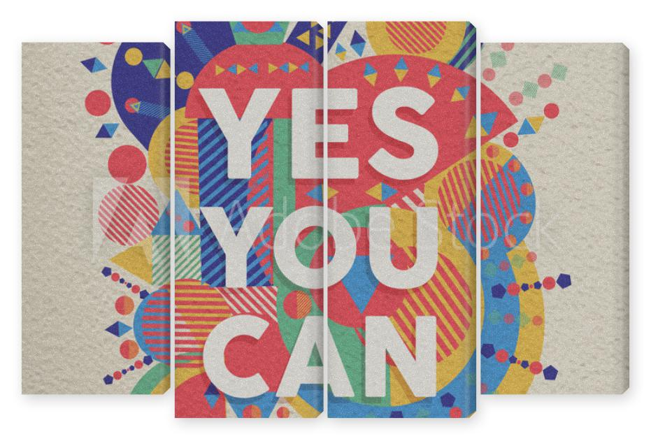Obraz Kwadryptyk Yes you can quote poster
