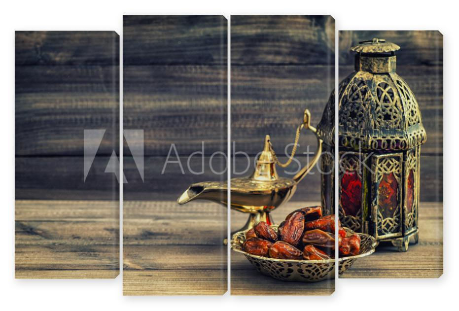 Obraz Kwadryptyk Ramadan lamp and dates on