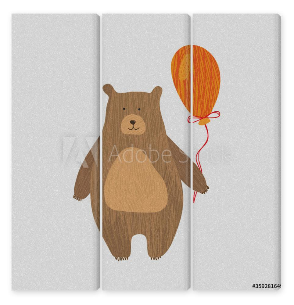 Obraz Tryptyk Vector drawing of bear for