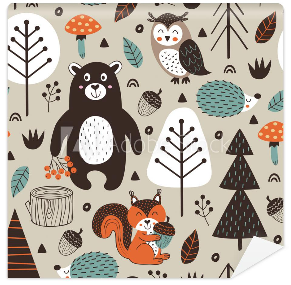 Tapeta seamless pattern with forest