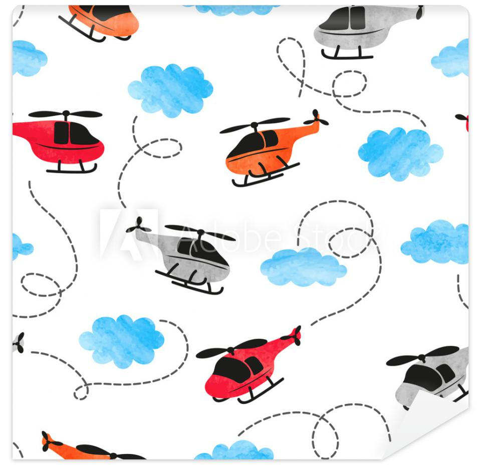 Tapeta Seamless watercolor helicopter