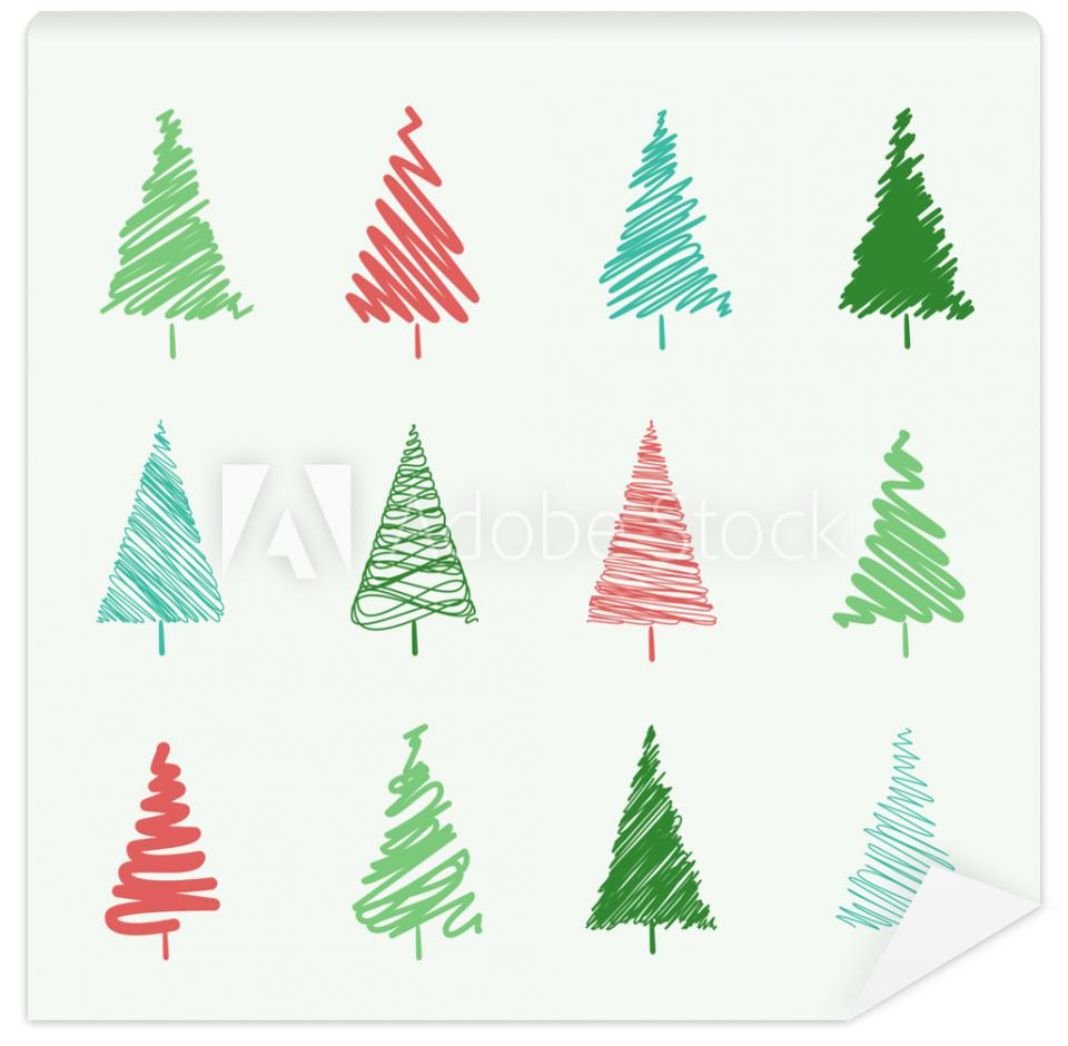 Tapeta Set of scribble Christmas tree