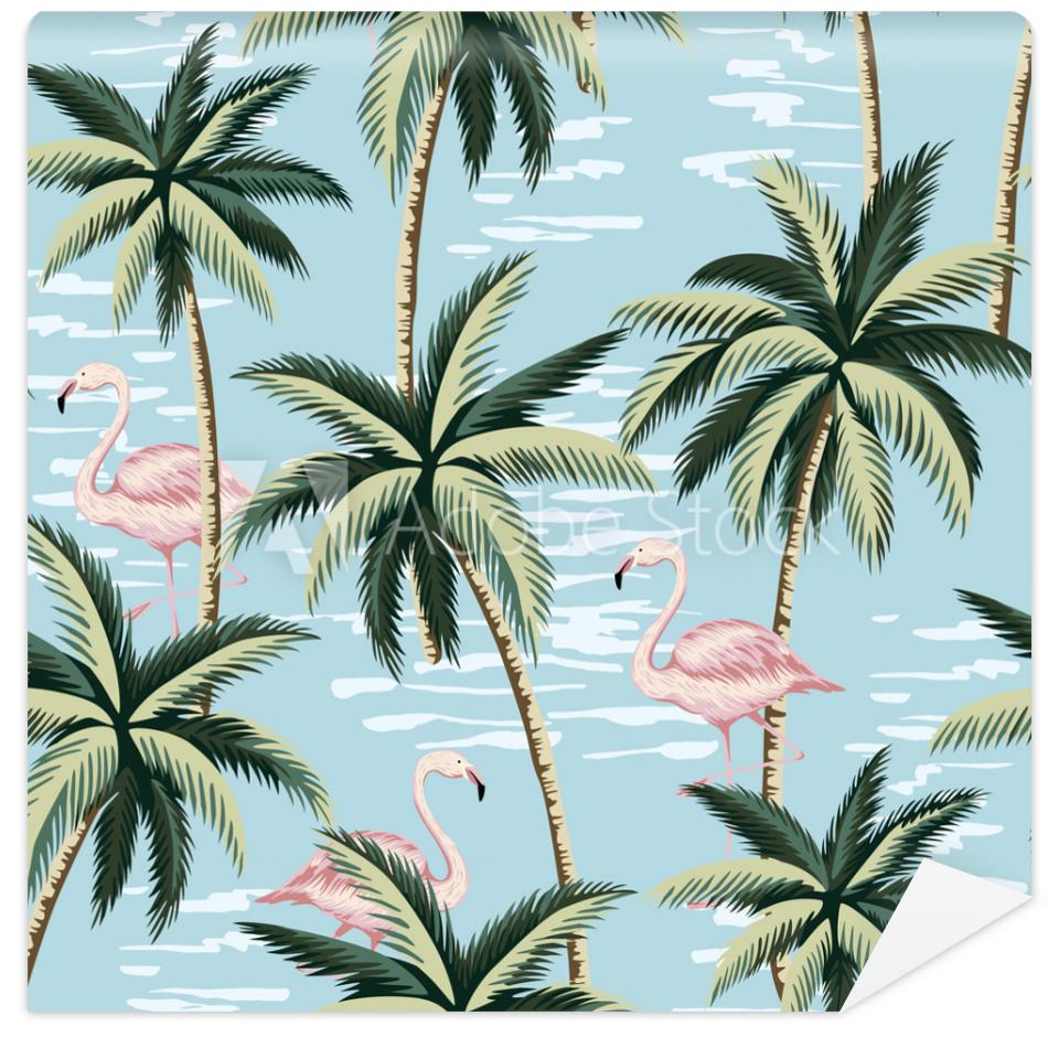 Tapeta Tropical vintage pink flamingo