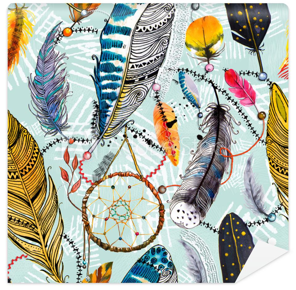 Tapeta seamless pattern with feathers