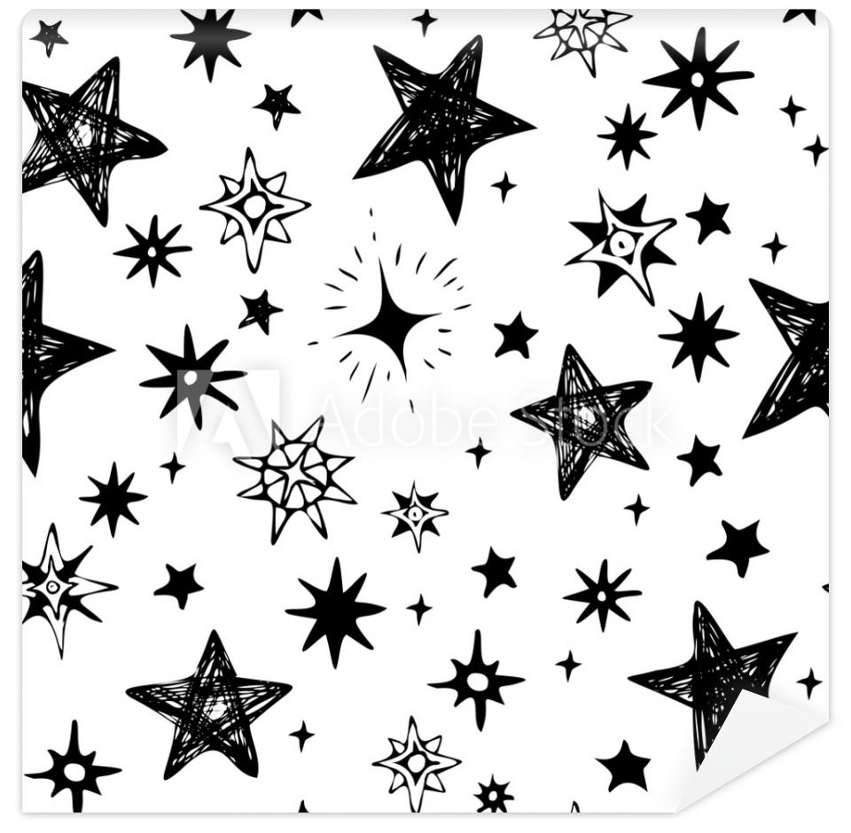 Tapeta hand-drawn black stars on a