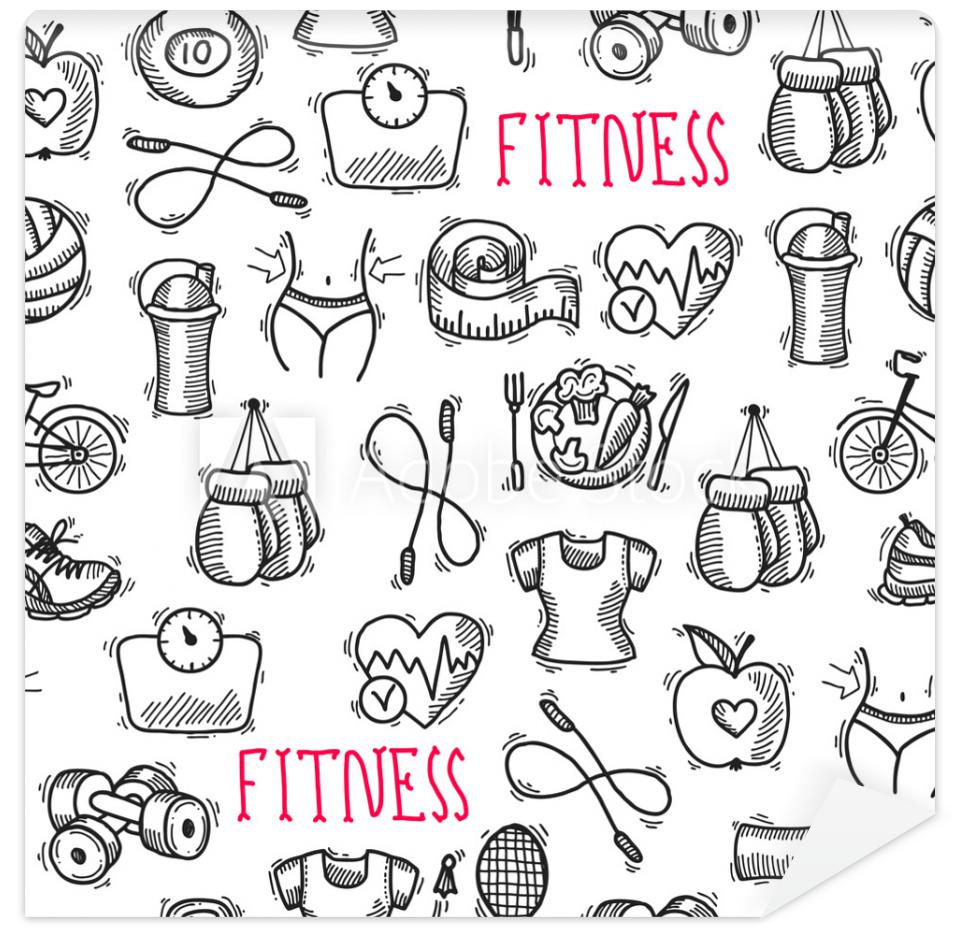 Tapeta Fitness sketch black and white